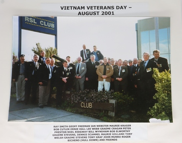 Colour photograph of group of members, Vietnam Veterans Day, 2001