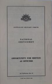 The booklet sets out the opportunity for National Servicemen to serve as officers.