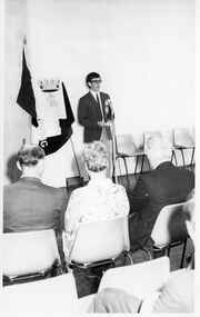 Black and white photograph, Opening of Power House Rowing Club with man standing at microphone, 14 February 1970