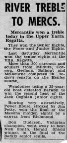 Newspaper clipping, RIVER TREBLE TO MERCS, 1958