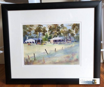 Watercolour of house and shed, surrounded by tall gum trees, three brown cows in the paddock enclosed by post and rail fence