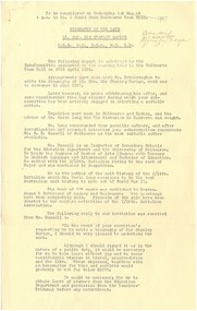 Document - Document, notes, Biography of the late Lt. Gen. Sir Stanley Savige K.B.E., C.B., D.S.O., M.C., E.D, c1957