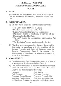 Document - Document, rules and objects, The Legacy Club of Melbourne Incorporated Rules