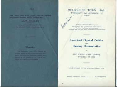 Programme - Document, programme, Combined Physical Culture and Dancing Demonstration 1932, 1932