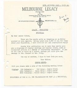 Journal - Document, newsletter, Legacy Newsletter, 1960