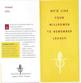 Pamphlet - Document, brochure, We'd like your willpower to remember Legacy