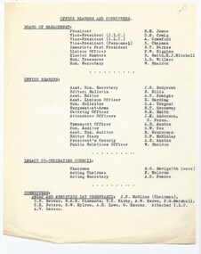 Document, Office Bearers and Committees 1942, 1942