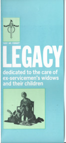 Pamphlet - Document, brochure, LEGACY dedicated to the care of ex-servicemen's widows and their children, 1966?