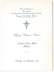 Programme - Document, menu card, Legacy Dinner Dance, 1962