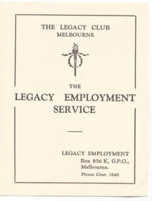 Booklet - Document, brochure, The Legacy Employment Service, 1938