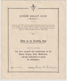 Certificate - Document, certificate, Junior Legacy Club