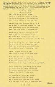 Document - Poem, Fifty Years On. A Reflection by Brian. Supplement to the Melbourne Legacy Bulletin No 2340 26.9.1978