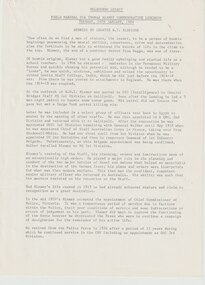 Document - Document, article, Field Marshall Sir Thomas Blamey Commemorative Luncheon. Address by Legatee R T Eldridge