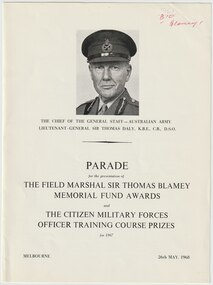 Document - Document, brochure, Parade. The Field Marshall Sir Thomas Blamey Memorial Fund Awards