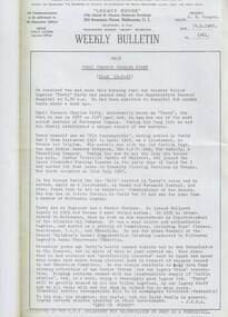Document - Document, article, Bulletin VALE Legatee Cyril Terence Charles Kirby