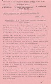 Document - Press Release 1975, How indebted I am to Legacy for the financial and moral aid I have received, 1975