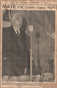 Newspaper - Document, article, The Age, PM Opens Legacy Week, 1960