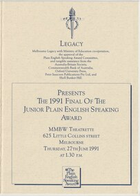 Programme - Document, Legacy Junior Plain English Speaking Competition 1991, 1991