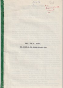 Document, Legatee Brian Armstrong, One Man's Legacy. The Story of the George Knocks Fund, 1965