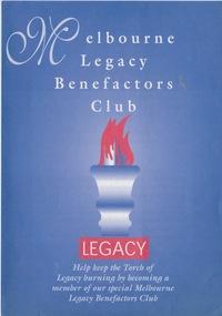 Pamphlet - Document, brochure, Melbourne Legacy Benefactors Club