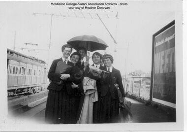 Photograph, Heather Donovan nee Padman, 1954 Mordialloc-Chelsea High School Students on Mentone Station, 1954