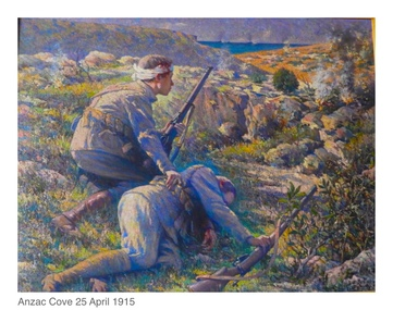 Oil painting by Antonio Rubbo, The Last Cartridge - 25th April 1915, Painting signed by Rubbo and dated 1916