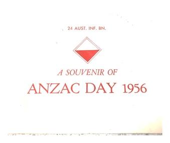 Anzac Day dinner menu 1956, 24th Batt. Anzac Day dinner 1956