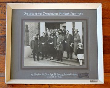 Photo, Opening of the Camberwell Memorial Institute by the Hon. Stanley M. Bruce,  Prime Minister of Australia. 18 August 1923, 1923