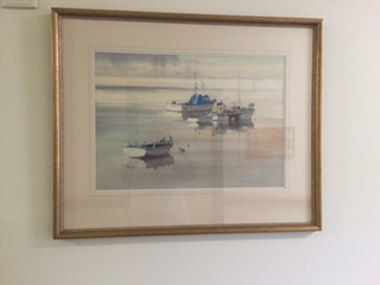 Watercolour, Russell Fletcher, Boat Scene