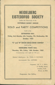 Programme, Heidelberg Eisteddfod Society : Solo & Party Competitions, 03/10/1952