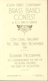 "Programme, Souvenir Programme : 1934 South Street ""Centenary"" Brass Band Contest, 1934"