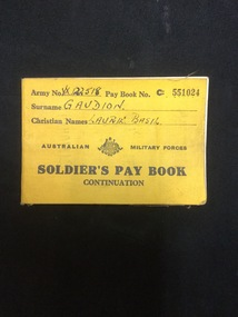 Soldier's Pay Book, T.H. Tennant, Government Printer