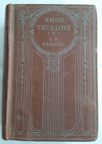 Brown covered fiction book with blue linear pattern surrounding fhe title, Amos Truelove byC.R. Parsons