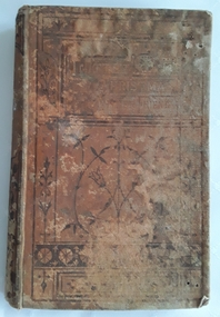 A badly damaged brown children's book about family life in the 1800's. Black floral pattern and lines are on the front cover.