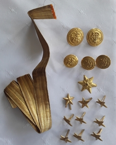 A set of 10 rolled gold stars, 5 buttons and a piece of gold thread ribbon for wearing on a German military uniform in WW1.