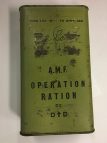 Container - Field Equipment, AMF Ration Tin, c.1916-1918