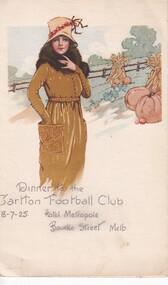 Menu for Dinner, Dinner to the Carlton Football Club 13/7/25 Hotel Metropole Bourke Street Melb, 1925