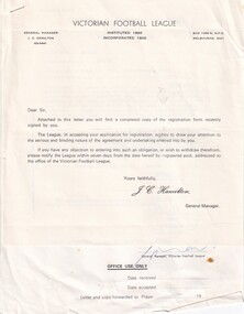 Letter from Victorian Football League 1981, VFL Registration Form 5A, 1981