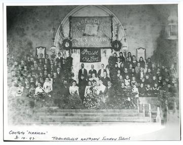 Photograph depicting the Tarnagulla Wesleyan Methodist Choir celebrating the Sunday School Anniversary, 1892