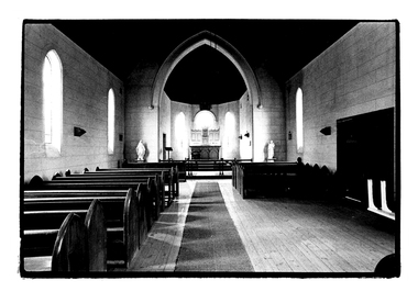 Photograph of the interior of the Catholic Church, Tarnagulla, Interior of the Catholic Church,  Tarnagulla, c. 1960s