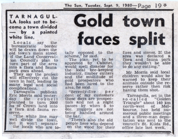 News clipping: Gold Town Faces Split, Gold Town Faces Split, September 9, 1980