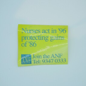 Australian Nursing Federation strike remembrance campaign sticker