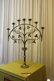 Candle holder, 7 branch candle holder (one of a pair)