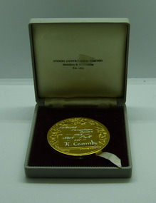 Medal and Case, Medal and Case - 1963 Victorian Paraplegic Games Gold Medal - Kevin Coombs, Shot Put, 1963