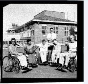Photo, Photo of wheelchair basketballers at Austin Hospital, 1960s