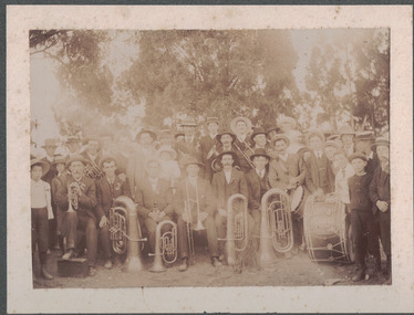 Band members with their brass instruments.