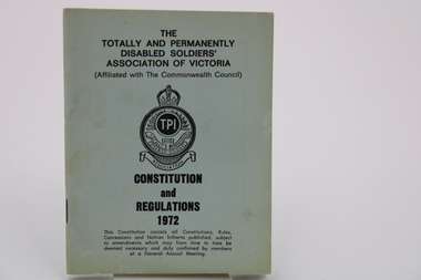 Booklet - Regulations Booklet, 1972 Totally and Permanently Disabled Soldiers Booklet
