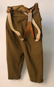 Uniform - Australian Amny pants, Army issue green wool pants with leather braces attached