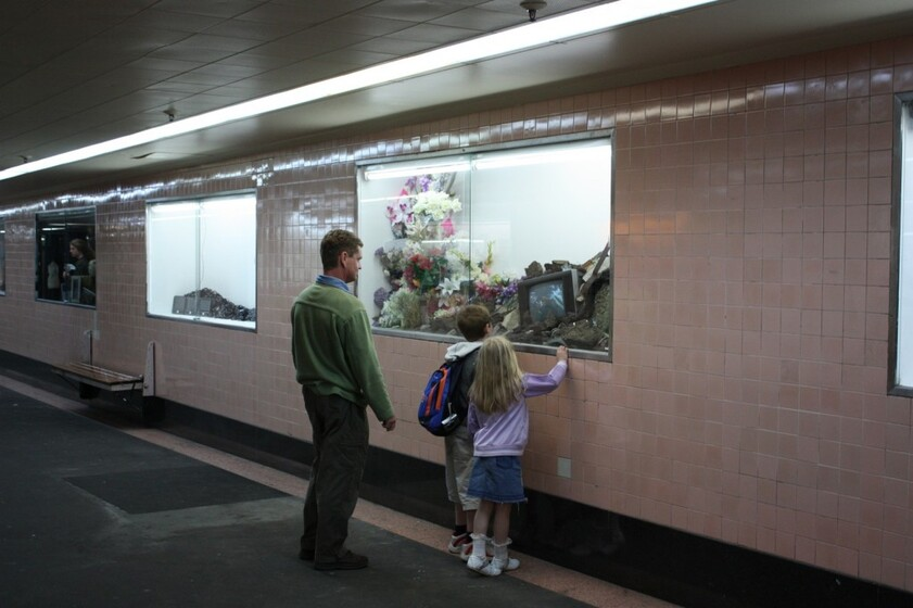 two people looking at an exhibition window