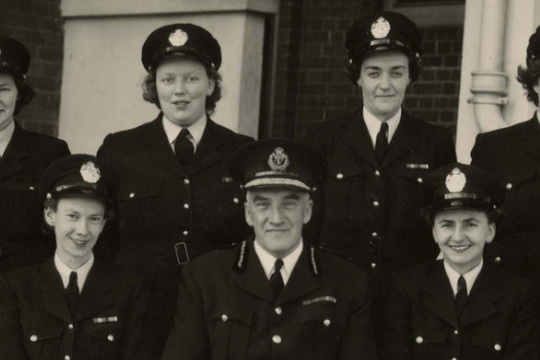 female police officers standing in two rows
